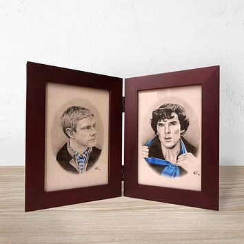 Framed Sherlock and Watson Prints (Hinged Book Frame)