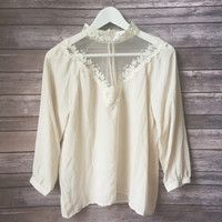 High Neck Mesh Yoke Cream Top