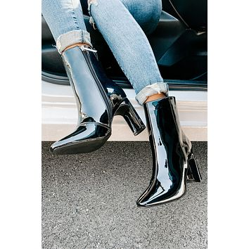First Strike High Gloss Patent Leather Bootie (Black Patent)