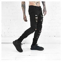 2017 new men's jeans ripped jeans for men skinny Distressed slim famous brand designer biker hip hop swag black slim jeans