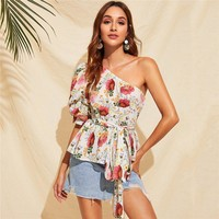 One Shoulder Puff Sleeve Belted Floral Blouse Women Clothing Boho Half Sleeve Blouse Ruffle Hem Vacation Ladies Top