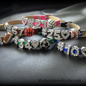 Personalized Leather Sports Bracelet With Rhinestone Slider Charms (Baseball, Softball, Football, Soccer, Volleyball, Basketball)