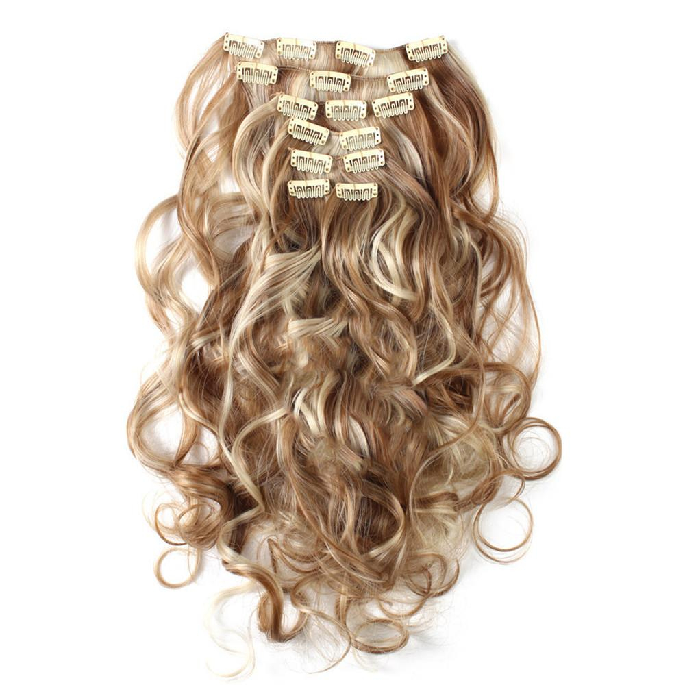 Image of 7pcs Suit Clips in Hair Extension Curled Wig Piece    27H613
