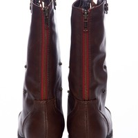 Style Unfolds Red Zipper Fold Down Combat Boots - Chestnut from Bamboo Shoes at Lucky 21