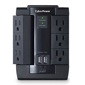 CyberPower CSP600WSU Surge Protector 6-AC Outlet Swivel with 2 USB (2.1A) Charging Ports