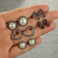 5 Pairs/set Fashion simple Bohemia style pearl /8/leaf/love heart earrings 171120