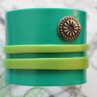 Teal and Lime Green Striped Polymer Clay Cuff Bracelet ~ Bright Multi-Colored Vegan Handmade