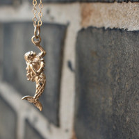 Mermaid necklace - solid bronze mermaid pendant . 14K gold-filled chain . nautical fashion . simple charm jewelry