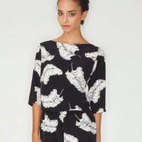 Motel Jessica Open Back Playsuit in Feather Print