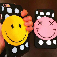 Smiling face wave point phone case for iphone 5 5s SE 6 6s 6 plus 6s plus + Nice gift box 080901