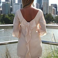 Cream Billowing 2.0 Dress Slit sleeves detail with bow back from xeniaeboutique
