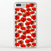 Red Poppy Pattern Clear iPhone Case by Tanyadraws
