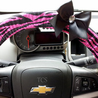 Zebra Pink and Black Steering Wheel Cover with Bow of your choice