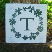St. Patricks Day Monogrammed Initial Clover Wooden Sign, Luck of the Irish, Green Clovers,Customized Wedding Gift,Saint Patrick, Wooden Sign