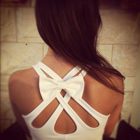 BIG White bow for clothes