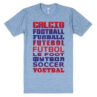 How To Say Soccer In Different Languages-Athletic Blue T-Shirt