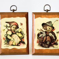 Set of 2 Hummel Decoupage Wall Hangings - Wooden Pictures