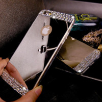 Luxury Rhinestone Diamond Mirror Soft Gel Bling Case Phone Cover For Apple iPhone 5, 5s, 6 4.7'' and 6 plus 5.5''