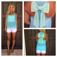 Baby Blue & Mint Bow Top