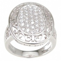 Bella's .925 Sterling Silver Oval Pave CZ Engagement Ring