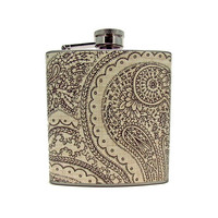 Black and Cream Paisley  6 or 8 oz Flask with Funnel and Tote Bag