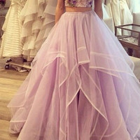 Custom Made 2 Pieces Sweetheart Neck Prom Dresses, Long Formal Dresses