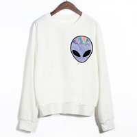 2015 New Winter Women Punk Funny Alien Printed Sport Sweatshirt Cheap Clothing