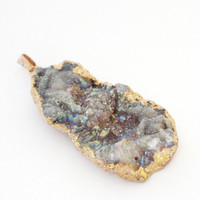 Druzy Pendant,  Rainbow Sparkly Druzy Dipped in Gold pendant,  Druzy Druze Gold Teardrop Pendant, Select With Or Without Chain