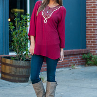 Majestic Moroccan Blouse, Red