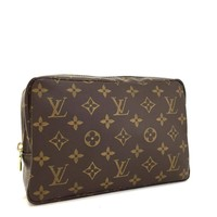 Authentic Louis Vuitton Monogram Trousse Toilette 23 Cosmetic Pouch Purse/a135