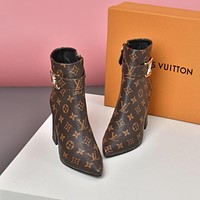 lv louis vuitton trending womens black leather side zip lace up ankle boots shoes high boots 297
