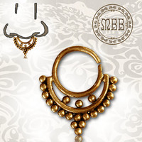"Ornate 16g (1.2mm) Septum Antiqued Afghan Tribal Brass Nose Piercing 3/8"" ring diameter 8.5mm 19mm length Brass filigree"