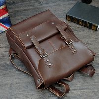 retro casual leather backpack coffee gift
