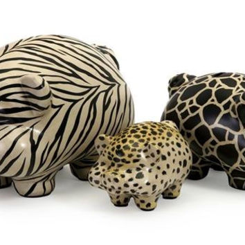 3 Animal Figures - Pig Figures With Animal Prints