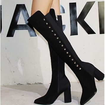 Hot style high heel pointed sexy rivet over knee boots  shoes
