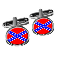 Confederate Rebel Southern Flag Round Cufflinks