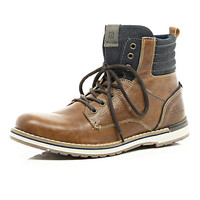 River Island MensBrown contrast panel military boots