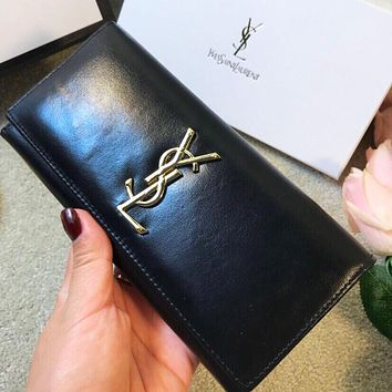 YSL High Quality Women Leather Buckle Purse Wallet