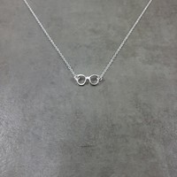 Glasses Silver Necklace