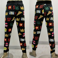 emoji 100 Pizza Weed Money  High Quality jogger pants