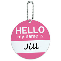 Jill Hello My Name Is Round ID Card Luggage Tag