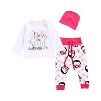 "Baby Girl ""Baby It's Cold Outside"" Top, Hat & Pant Set"