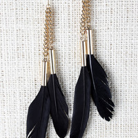 Double Feather Hanging Earrings
