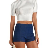 Short Sleeve Mock Neck Crop Top by Charlotte Russe