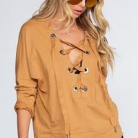 Audrina Lace Up Top - Mustard