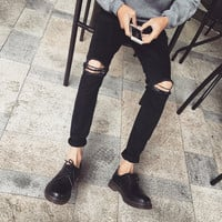 Men Jeans Skinny Fit Denim Ripped Destroyed Frayed Biker Stretch Pants Trousers