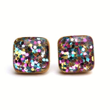 Rainbow glitter square studs boxed glitter stud earrings wood earrings Kate spade eco fashion eco friendly unique gift for her