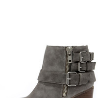 Madden Girl Wicker Taupe Buckled Ankle Boots
