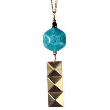 Magnesite Geometric Necklace, Long Layering Necklace, Geometric Statement Jewelry, Stacked Pyramids, Long Gold Necklace, Modern and Minimal