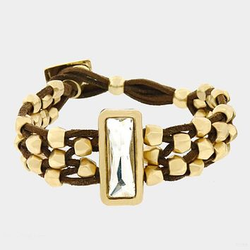 Rectangle Crystal Chunky Metal Bead Cluster Suede Bracelet